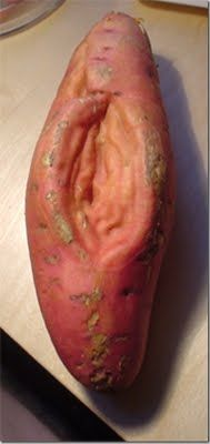 vagina-shaped sweet rude potato